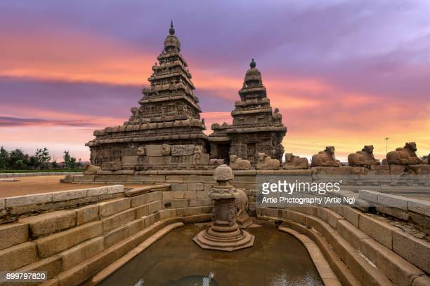 Sunset View at Shore Temple Complex with Miniature Shrine in Mahabalipuram, Kanchipuram, Tamil Nadu, India