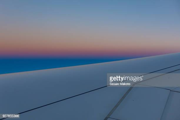sunset view from an airplane in the Atmosphere