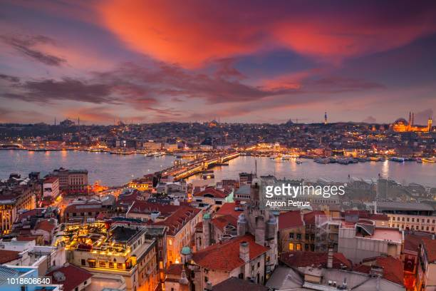 Sunset view from Galata tower to Golden Horn, Istanbul, Turkey