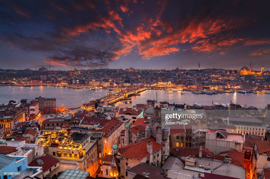 Sunset view from Galata tower to Golden Horn, Istanbul, Turkey : Stock Photo