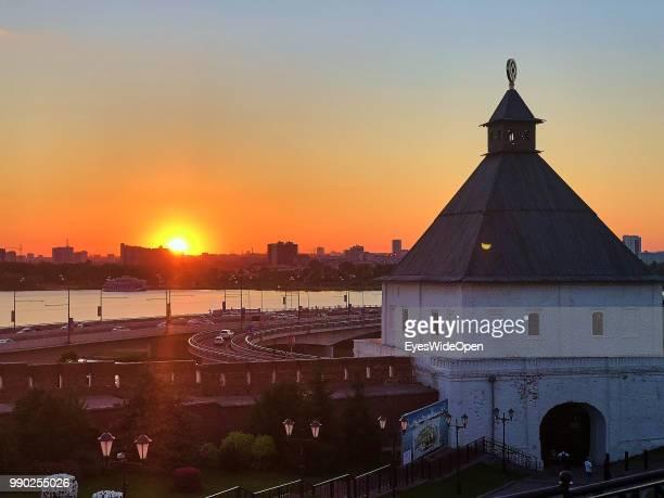 Sunset view from Kazan Kremlin on June 29, 2018 in Kazan, Tatarstan, Russia.