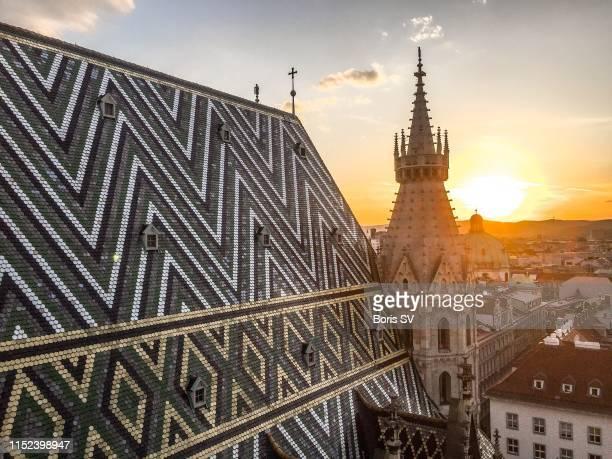 sunset view from st. stephens cathedral, vienna - wien stock-fotos und bilder
