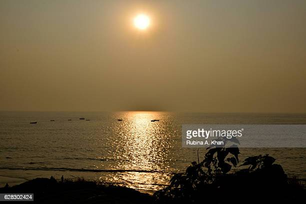 A sunset view from W Goa's Rock Pool at W Goa on December 8 2016 in Goa India