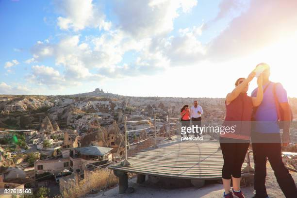 sunset view hill in cappadocia - central anatolia stock photos and pictures