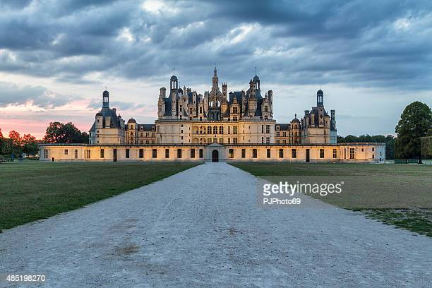 sunset view of chambord castle - loire - france - chateau stock pictures, royalty-free photos & images