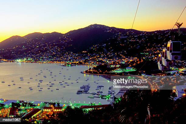 Sunset view of Charlotte Amalie from Paradise Point, St. Thomas, U.S. Virgin Islands, Caribbean
