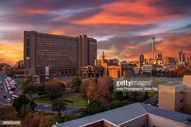 Sunset View of City Council Building and Hillbrow Tower (JG Strijdom Tower), Johannesburg, Gauteng, South Africa