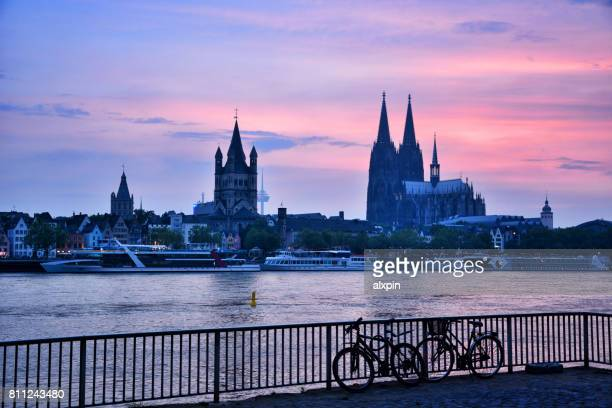 Sunset view of Cologne skyline