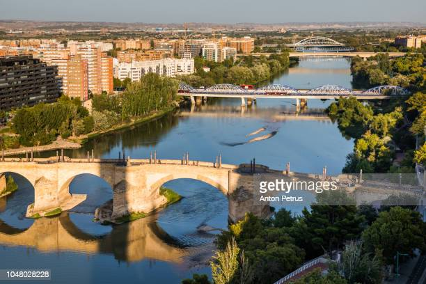 Sunset view of Ebro river in Zaragoza, Spain, from one of the towers of the Pilar Basilica