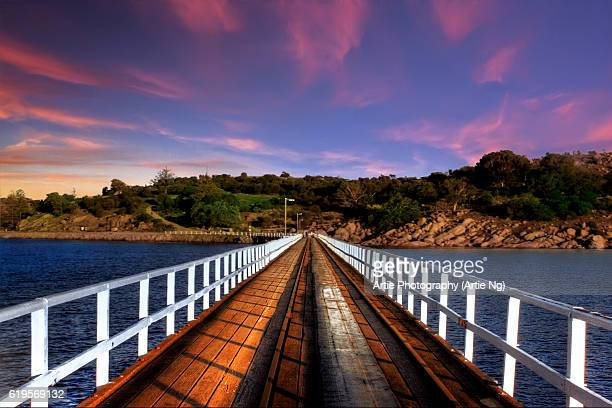 Sunset View of Granite Island From the Horse-Drawn Tramway Causeway, Victor Harbor, South Australia, Australia