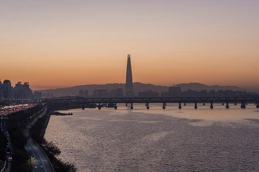Sunset View of Han River, Seoul, South Korea - gettyimageskorea