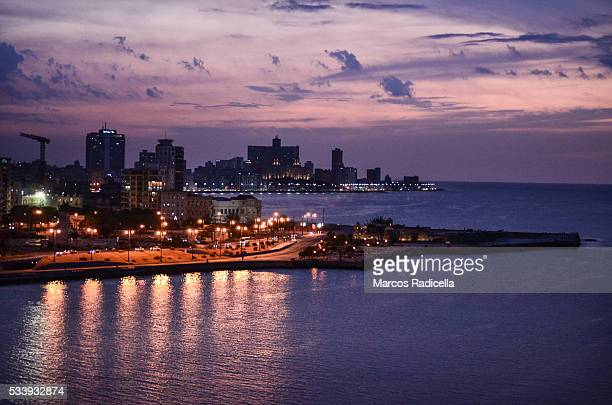 sunset view of havana bay - radicella stock photos and pictures