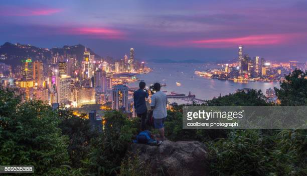 Sunset view of Hong Kong City from Breamar hill