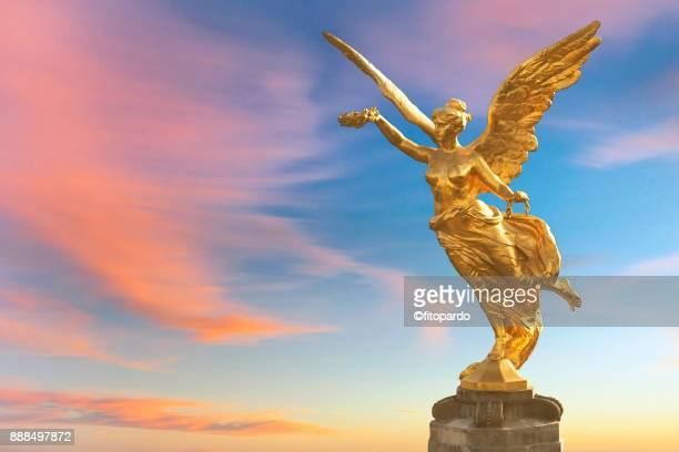 sunset view of independence angel in mexico - independence monument mexico city stock pictures, royalty-free photos & images