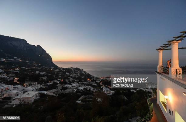 A sunset view of Island Capri Campania region southern Italy