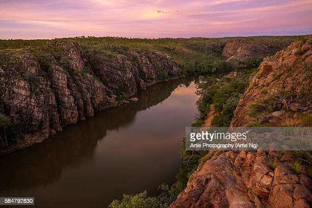 Sunset View of Katherine Gorge From Barrawei Lookout in Nitmiluk National Park, Northern Territory, Australia