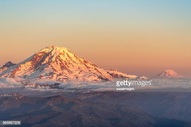 sunset view of Mount Baker and Mount Rainier