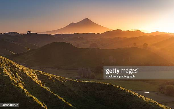 sunset view of Mt. Taranaki