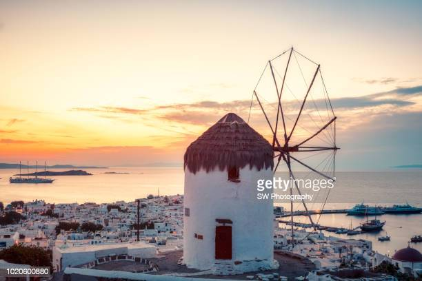 Sunset view of Mykonos town, Greece