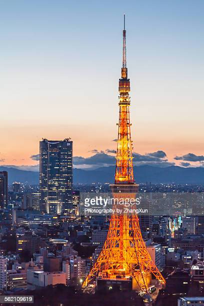 Sunset view of Roppongi Hills and Tokyo Tower