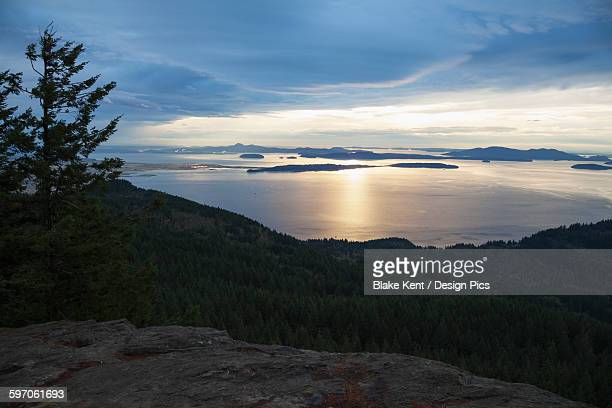 Sunset view of San Juan Islands from Oyster Dome