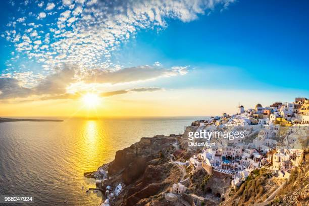 sunset view of santorini island, oia - greece - greece stock pictures, royalty-free photos & images