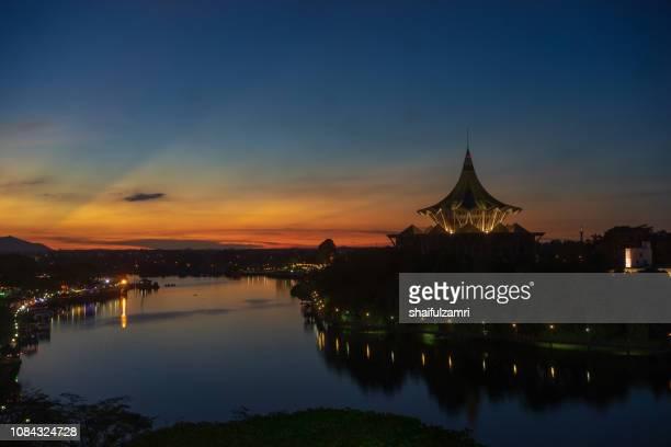 Sunset view of Sarawak River in Kuching, Sarawak.