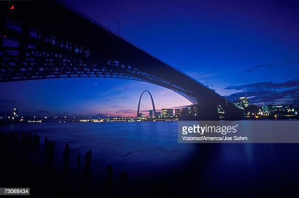 """Sunset view of St. Louis, Mo skyline and Eads Bridge"""