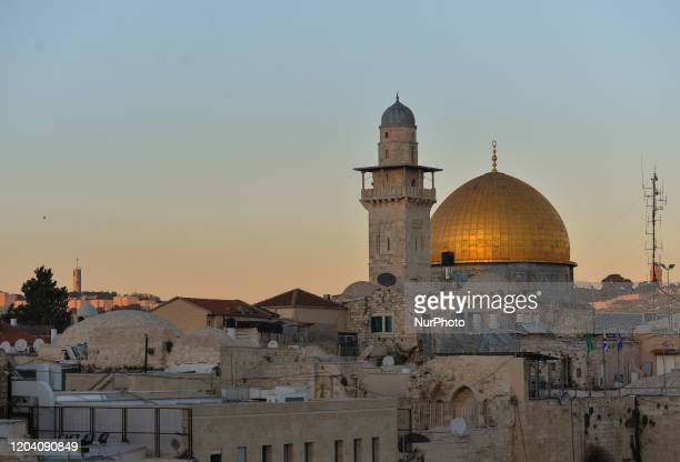 A sunset view of the Dome of the Rock in Jerusalem On Friday February 28 in Jerusalem Israel