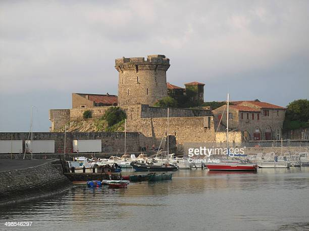 Sunset view of the harbor and Socoa Fort built by the military engineer Vauban Ciboure Pyrenes Atlantiques France