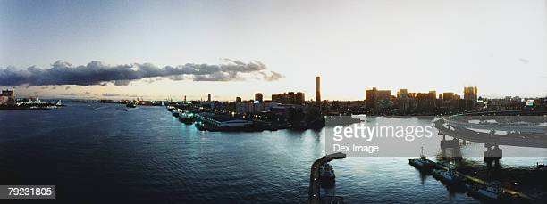 Sunset view of Tokyo Bay skyline, Tokyo, Japan