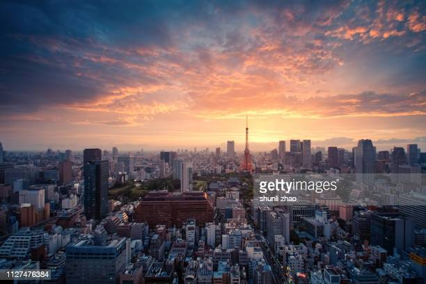 sunset view of tokyo cityscape - japan - tokyo japan stock pictures, royalty-free photos & images