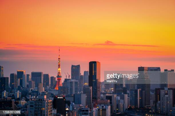 sunset view of tokyo cityscape - japan - この撮影のクリップをもっと見る 2025 stock pictures, royalty-free photos & images