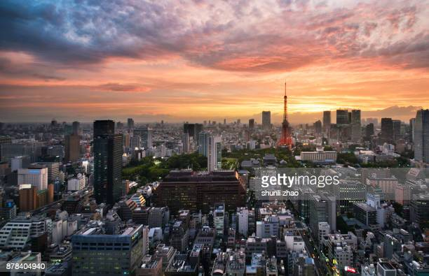 Sunset view of Tokyo cityscape - Japan
