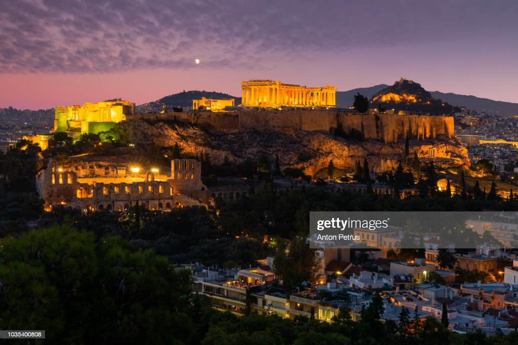 Sunset view on Acropolis in Athens : ストックフォト