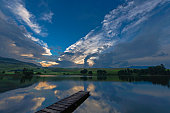 sunset view over lake castleburn drakensberg