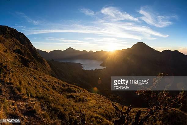 Sunset view over Rinjani Volcano