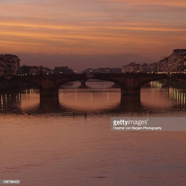 Sunset View over the Arno River from Ponte Vecchio
