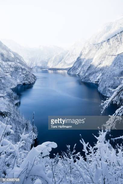 Sunset view over the lake Königssee at winter times