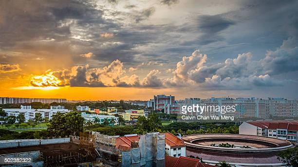 A sunset view overseeing Tampines public housing estate - East of Singapore