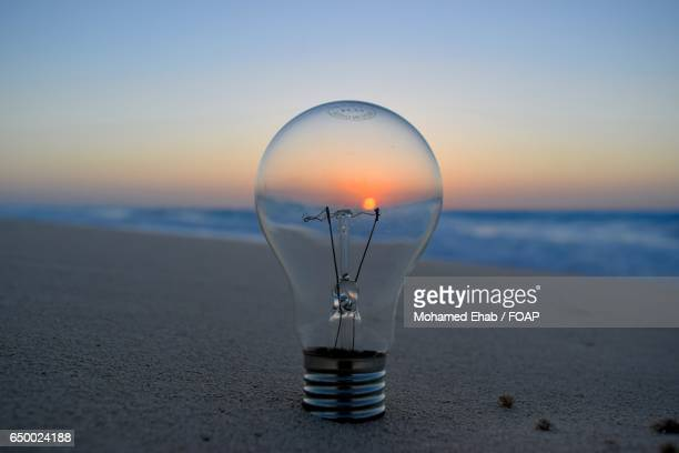 Sunset view through bulb