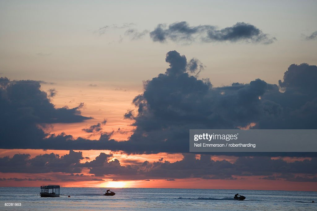 Sunset, West Coast, Barbados, West Indies, Caribbean, Central America : Stock Photo