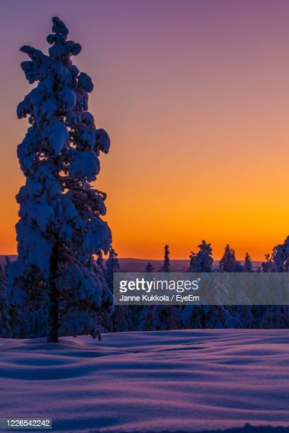 sunset with a clear winter sky - finland stock pictures, royalty-free photos & images