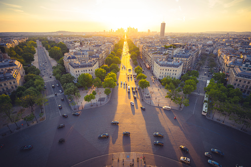 Sunset with golden color over the city of Paris , France - gettyimageskorea