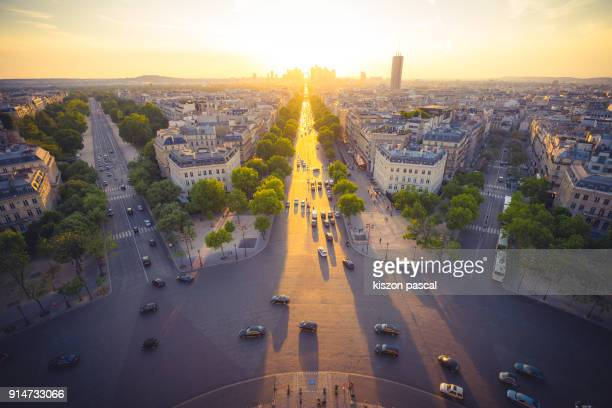 Sunset with golden color over the city of Paris , France