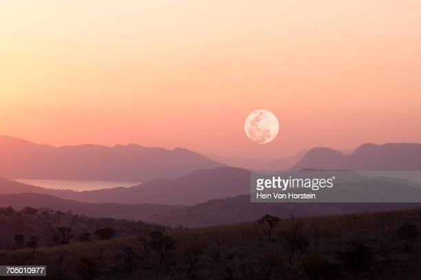 Sunset with moon over Hartbeespoort Dam, Northern Province