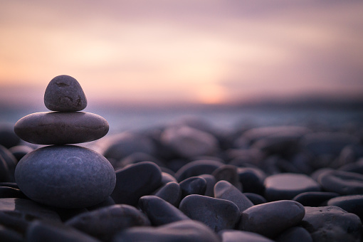 Sunset with pebbles on beach in Nice, France. 1157205177