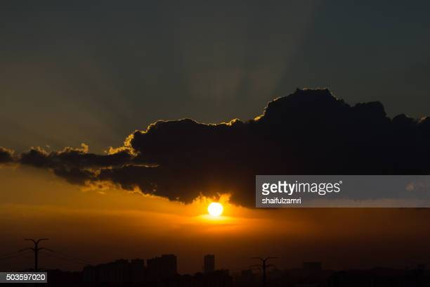 Sunset with ray of light in Kuala Lumpur