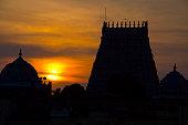 Sunset with silhouette of Sarangapani Temple, Kumbakonam, Tamil Nadu, India