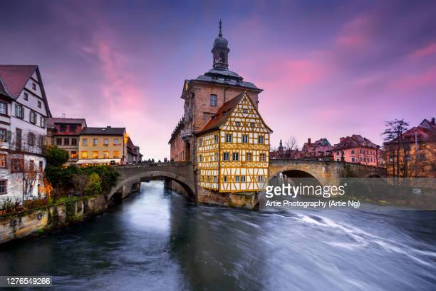 sunset with the old town hall and river regnitz, bamberg, upper franconia, germany - germany stock pictures, royalty-free photos & images